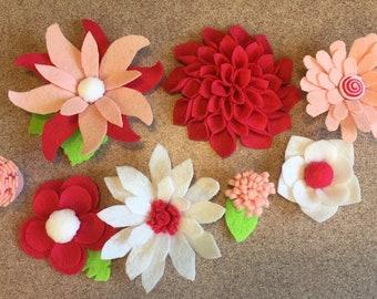 Springtime felt flower set, felt flowers, decor, bright pink, artificial flowers, little girl room decor, decor, handmade