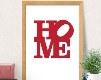 Typography print, Modern prints, Minimal Wall Art, Home print, Typography poster, Modern Wall Art, Minimal Artwork, Red Print