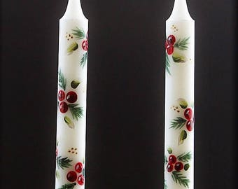 Hand Painted Christmas Taper Candle Holly and Pine