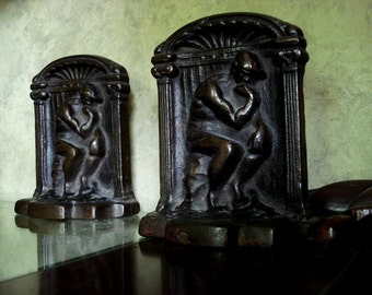 The Thinker Cast Pair of Metal Bookends