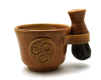 Steampunk Shaving Set Brown Includes Shave Mug Black Badger Hair Shave Brush and Shave Soap Ready to Ship for Fathers Day