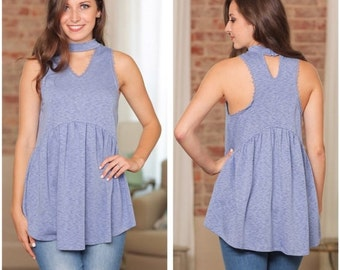 ADORABLE Blue Choker Babydoll Style Tunic for Women | Must-Have for Spring and Summer!