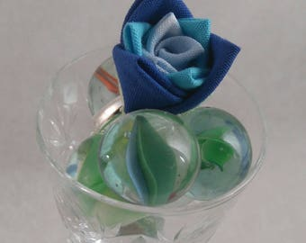 Blue Rose Bud Statement Ring Adjustable / Geisha Inspired, Textile Ring/  Fabric Origami Statement Ring/ Textile rose ring