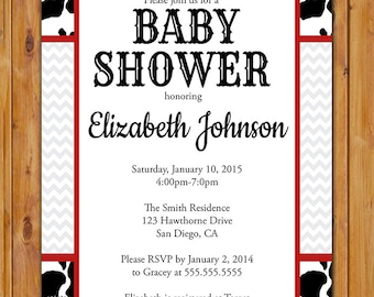 Cow Print Baby Shower Invitation Black White Red Invite Be Not Moved Church Event Printable 5x7 Digital JPG (51)
