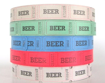 100 Beer Tickets,  Numbered on the Front and Blank on Back, Wedding Reception Decorations, Reunion Drink Tickets, Festival Supplies