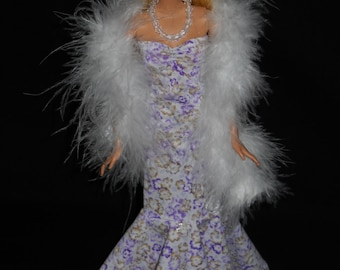 3 Piece Outfit Barbie Doll Dress Handmade Light Purple Floral Sweetheart Sheath Dress with Boa and Necklace