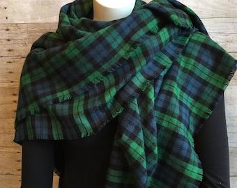 Navy Blue and Green Plaid Blanket Scarf, Cotton Flannel Wrap, Black Watch Plaid Oversized Scarf, Fringed Plaid Shawl, Black Watch Tartan