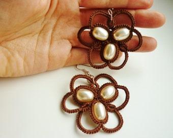Elegant Tatted Earrings - Needle Tatting - Frivolité Jewelry - Occhi - Lace Jewellery - Custom - beautiful Pattern - night out - gifts ideas