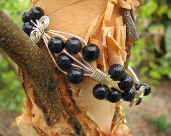 Blue Goldstone and Sterling Silver Wire Wrapped Bracelet
