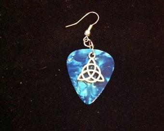 Men's Celtic Knot and Blue Guitar Pick Earring, Men's Guitar Pick Earring, Ready to Ship, Men's Jewelry, Men's Earring