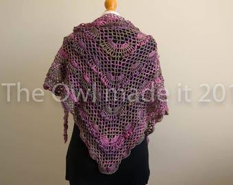 Ladies spring shawl   Wool wrap  Crochet shawl   Shoulder wrap   Women triangle shawl   Gift for women   Ready to ship   UK seller