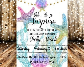Surprise Shellabration Under The Sea Ocean Surprise Birthday Party Invitation
