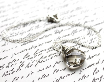 Gray Pendant Necklace, Silver Shade Swarovski Crystal Wire Wrapped Flat Pear Teardrop, Sterling Silver Cable Chain, Smokey, Mist, Stormy
