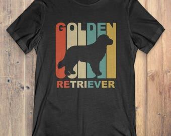 Golden Retriever Dog T-Shirt Gift: Vintage Style Golden Retriever Silhouette