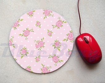 Lovely Pink Chic Rose Mousepad, Office Mousepad, Computer Mouse Pad, Fabric Mousepad