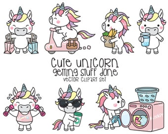 Premium Vector Clipart - Kawaii Unicorn - Cute Unicorn Planning Clipart - Instant Download - Kawaii Clipart