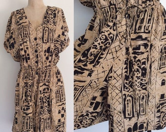 1980's Black & Tan Printed Romper Size Large by Maeberry Vintage