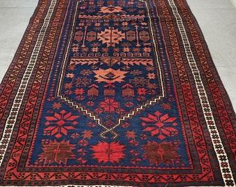 Art deco oriental rug, Persian rug, vintage rug, art deco rug, bohemian rug, tribal rug, antique rug - 6.2 x 3.5 FT / 190 x 107 cm