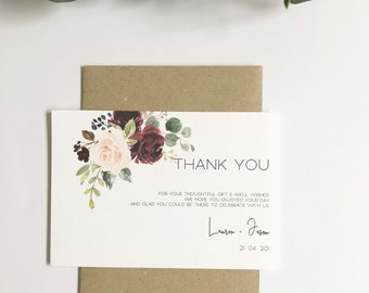 B U R G A N D Y   R O S E | Thank You Cards