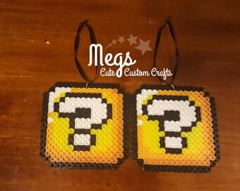 Perler Bead Art - Mario ? Mystery Block Ornaments