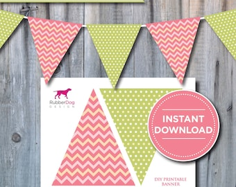 INSTANT DOWNLOAD - Chevrons & Polka Dots Banner Printable Flag Bunting - for party, celebration, decoration, birthday