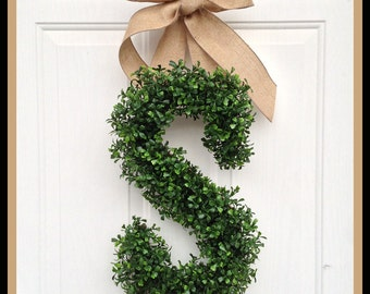 Monogram Wreath - Wreaths - Year Round Wreath Door - Arificial Boxwood Wreath  - Burlap Ribbon - Initial Door Wreath Personalized