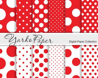 Red And White Polka Dot Digital Paper Pack, Scrapbook Paper, Digital Background, 12 Sheets, Personal And Commercial Use - Instant Download
