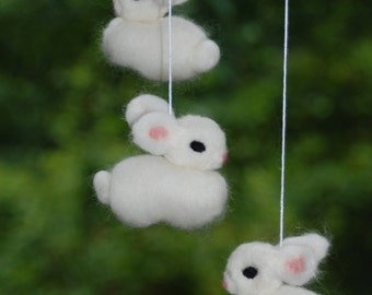 All White Bunny Mobile Needle Fellted 6 Bunnies Handmade Baby Mobile Nursery Decoration