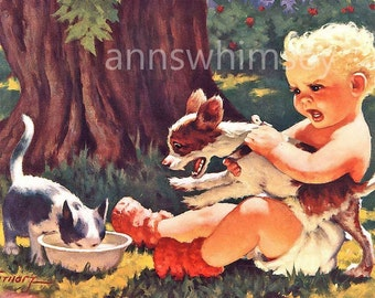 Art Print Dog Goes Insane!  Little Boy, Dog, and Cat -  Wonderful Restored Antique Print  #183