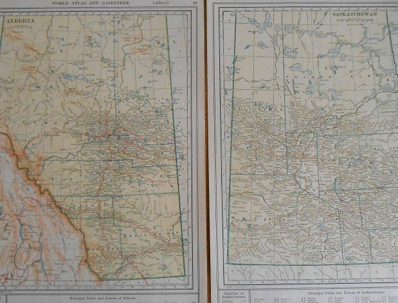 Antique maps of alberta and saskatchewan set of 2 1918 like this item gumiabroncs Gallery