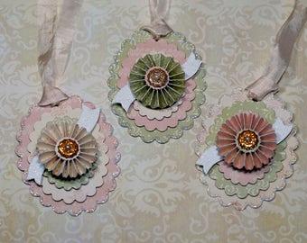 Paper Rosette Gift Tags, Set,  Vintage Style Paper Rosette Gift Tags, Handmade