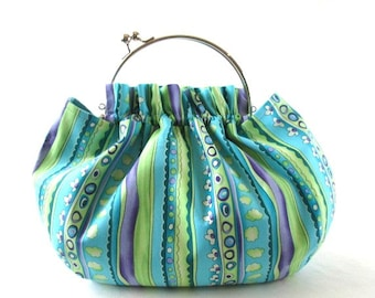 Blue green stripe frame handbag, frame clasp purse, removable silver bag frame, blue green cotton fabric frame bag, ruffled bag