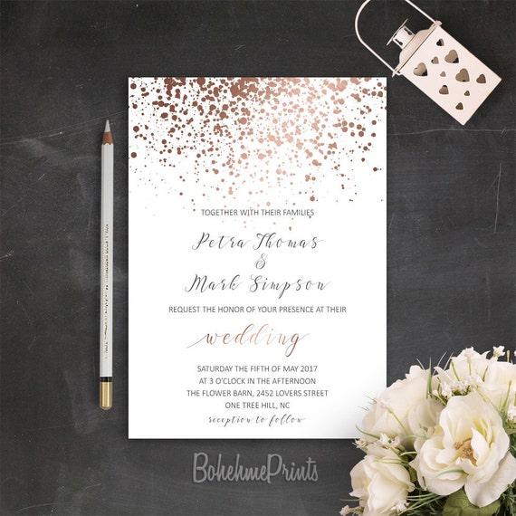 Rose Gold Wedding Invitation Printable Simple Wedding