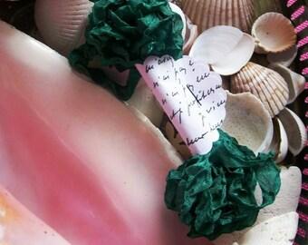 Vintage- Seam Binding- Crinkled-Gem Green-Silky-Shabby