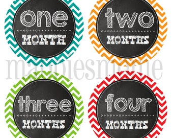 Baby Boy Month Stickers, Monthly Baby Stickers, Milestone Stickers, Baby Month Stickers, Monthly Bodysuit Sticker Mod (Chalkboard Chevron)