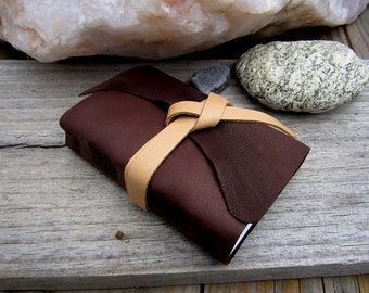 Small Chocolate Leather Journal - 5.5x3.5 Soft Bound Handmade Wrap Journal