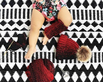 Black & Cherry Red | Hat and Leg Warmers Set