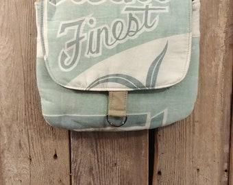 Vintage DeWine finest grass seed sack messenger bag
