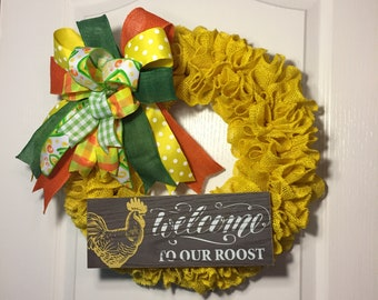 Burlap Welcome to our roost wreath
