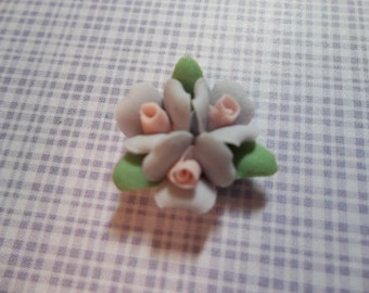 Ceramic Roses - 18mm Purple Triple Flower Cluster - Flower Cameos - Green Leaves - Pink Center - Flat Back Cabochons - Qty 2