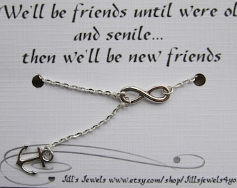 Infinity and Anchor Charm Necklace and Funny Friendship Quote Card- Bridesmaids Gift - Friendship Necklace - Friends Forever - Quote Gift