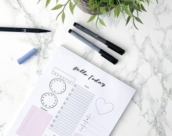 Day Planner block A4//Daily planner Pad//To-do list//calendar/Organizer//productivity//goals and dates//desk pad//Thoughts