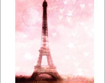 Paris Photography, Eiffel Tower Dreamy Hearts Print, Baby Girl Nursery Decor, Paris Pink Eiffel Tower Print, Paris Nursery Wall Art Prints