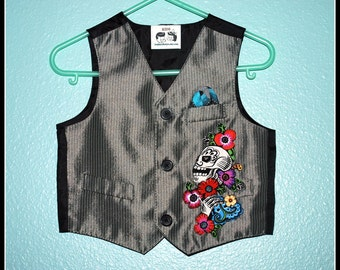 Boys Rockabilly Day of the Dead Vest....size 12 months