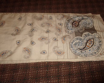 vintage ladies head neck scarf ivory color brown blue scrolls print oblong