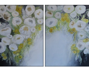 Extra Large Abstract Original Flower Painting on Canvas Modern Acrylic Painting - Set of two 36x48