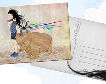 Illustrated postcard / origami bear / party / woman / forest / illustration / a6
