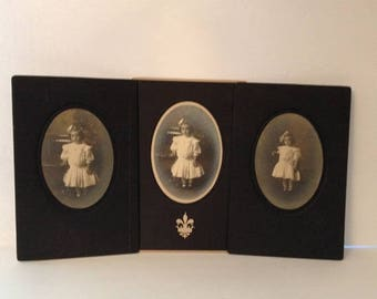 ON SALE Three Early 1900's Antique Photographs Series Cute Little Girl Vintage Old Photos