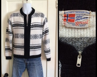 Vintage 1950's Zipper Snowflake Cardigan Sweater size Large Black White