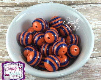 Royal Blue & Orange stripe Chunky beads, 20mm acrylic bubblegum beads